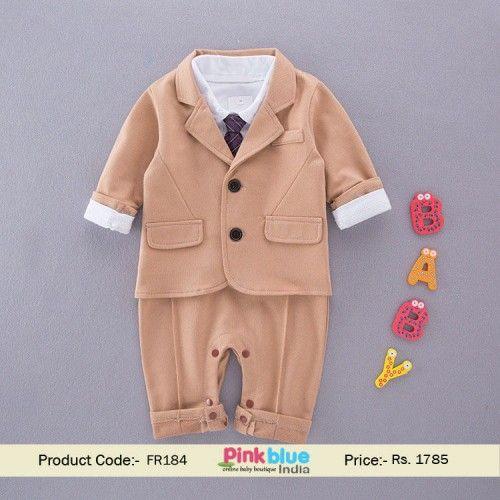 914f7af4d3ef7 Infant Boys Suit   Tie Romper Onesie - Baby Boy Wedding Suit