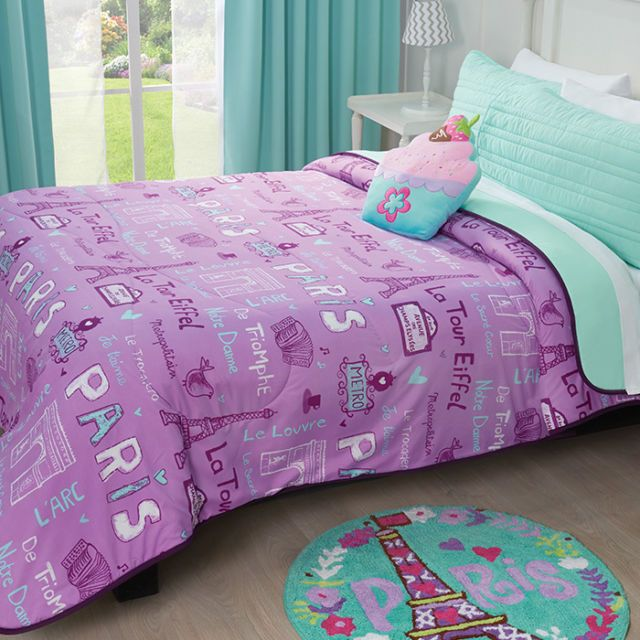 BEAUTIFUL 5PC MODERN CHIC PINK PURPLE AQUA TEAL BLUE YELLOW GIRLS COMFORTER SET