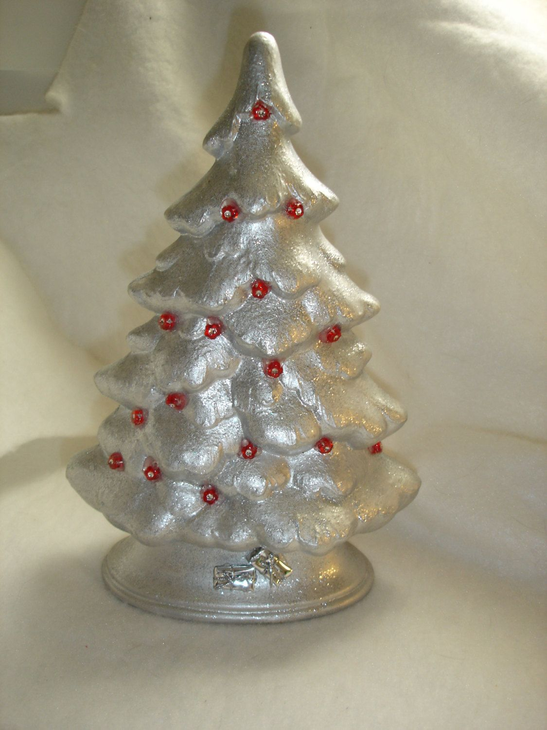 Silver Christmas Tree Burgundy Accents Tabletop Hand