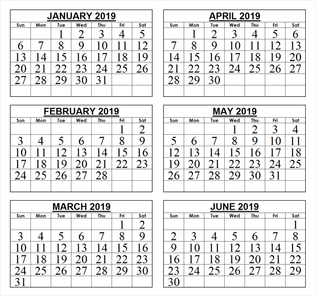 January To June 2019 Printable Calendar