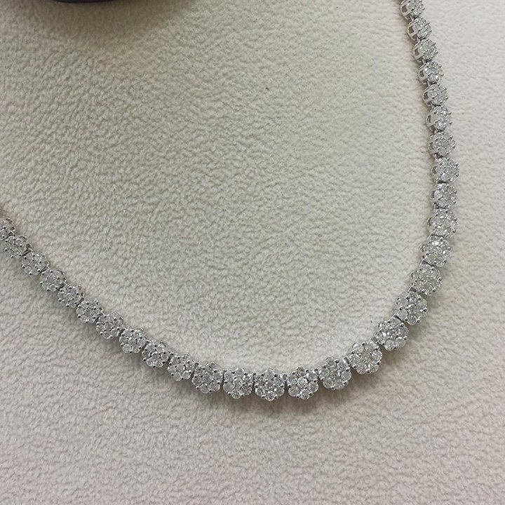 Gorgeous flower diamond tennis necklace! #flower #tennis #diamond ...