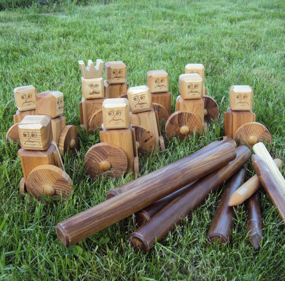 Details about Viking Kubb Yard Game Set 100% Hardwood Red King Swedish Lawn Game Kubbspel Set is part of lawn Games For Kids -