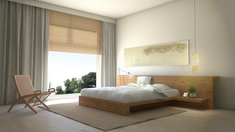 chambre zen lit bas bois massif miroir rectangulaire tapis beige