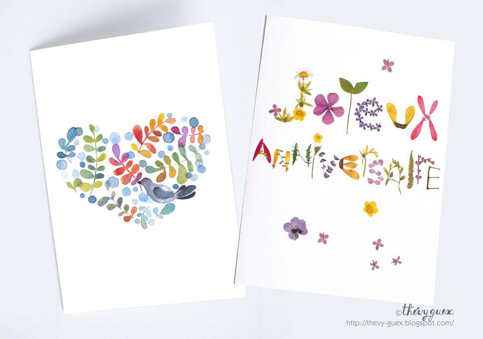 Carte Illustration Joyeux Anniversaire Herbier Fleur Sechee
