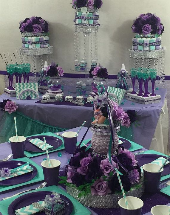 BABY PACIFIER Centerpiece Purple & by PlatinumDiaperCakes on Etsy