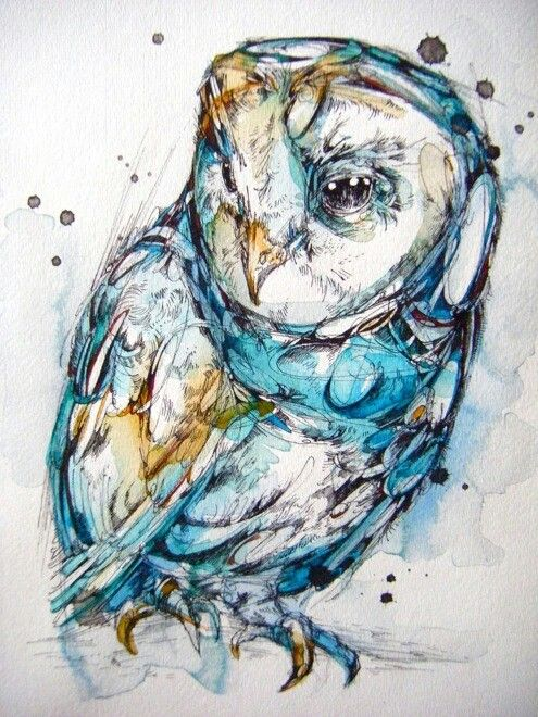 Watercolor and ink owl