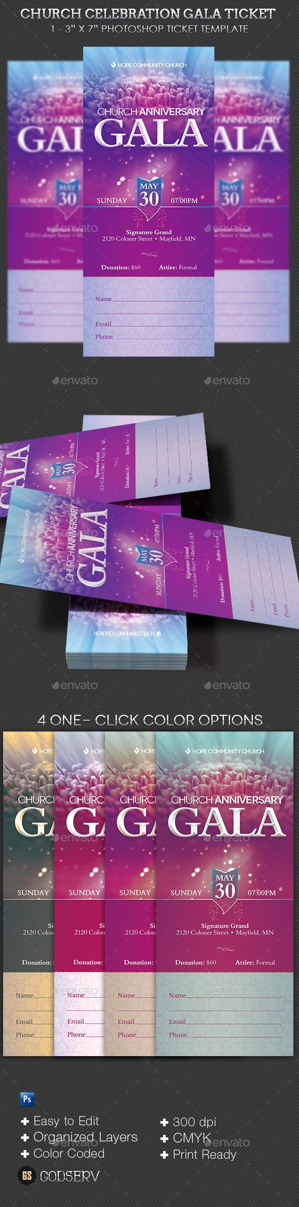 Church Celebration Gala Ticket Template PSD Download Here Graphicriver