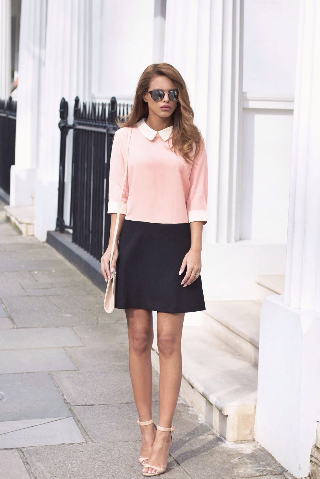 Nada Adelle is showing off the blush pink fashion trend with a Lia blush  pink and black collared dress 40490cce9