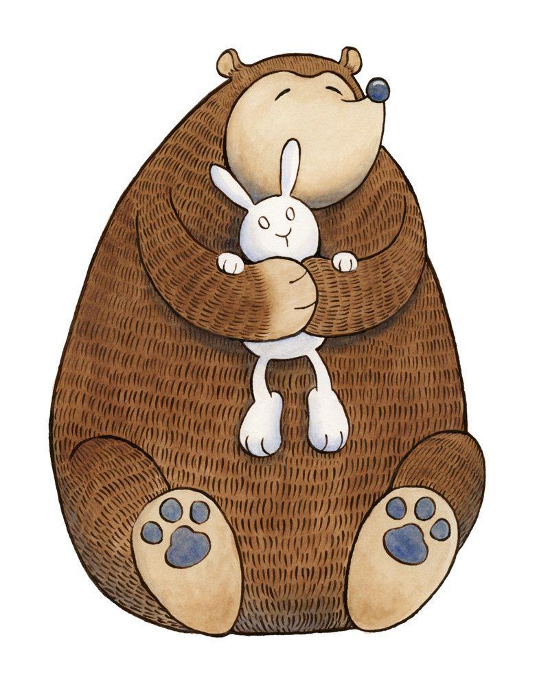 Картинка зайчик и медведь