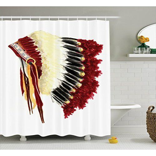 Red White Blue Native American Indian Headdress Feathers Fabric