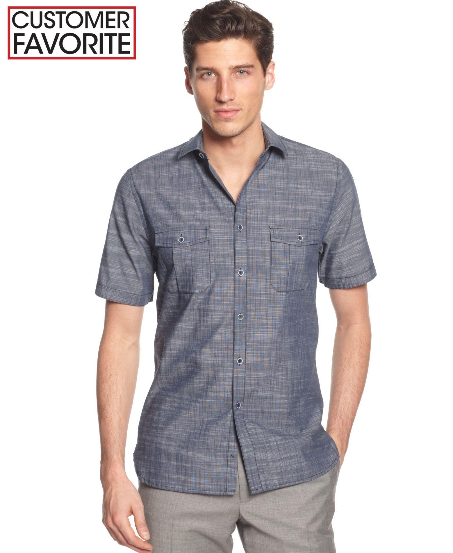 Alfani Black Warren Solid Short Sleeve Textured Shirt