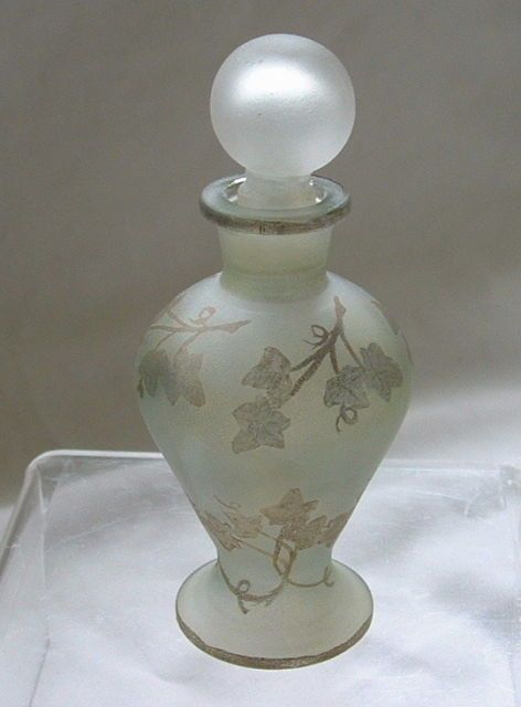 Beautiful Jenny Blair Designs JBD Perfume Bottle Pale Green W Gold Leaf Design | eBay
