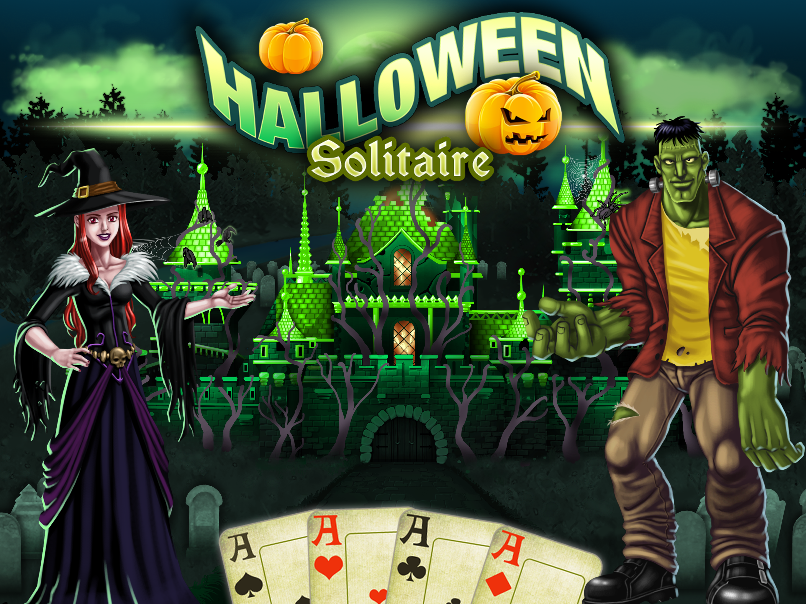 Play Halloween Solitaire Tripeaks with Glowing Eye Games