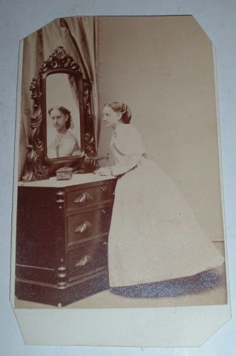 Original-Antique-Photo-1860s-Civil-War-era-RARE-Reflection-Image-CDV-Baltimore