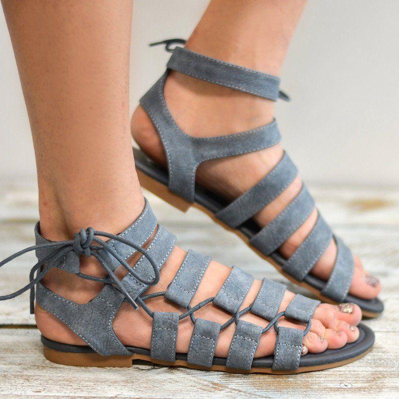 7abb2db79 Large Size PU Lace-up Roman Sandals - JustFashionNow.com
