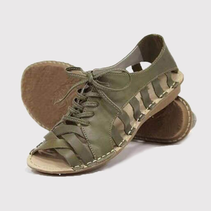 Plain Flat Peep Toe Casual Flat Sandals Schnürsandalen Schuhe Damen Frauen Sandalen