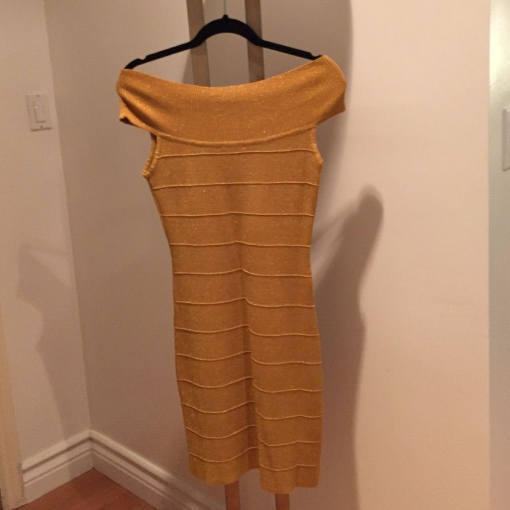 Reduced price bodycon off shoulder gold dress products
