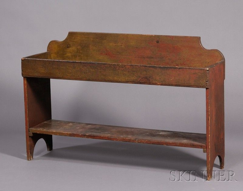 Painted Dry Sink Bucket Bench, America, early 19th century ...