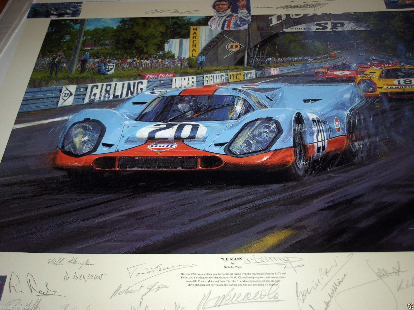 Home gt steve mcqueen porsche paintings - Jacky Ickx Derek Bell Brian Redman Porsche 917 Signed Autograph Steve Mcqueen Ebay