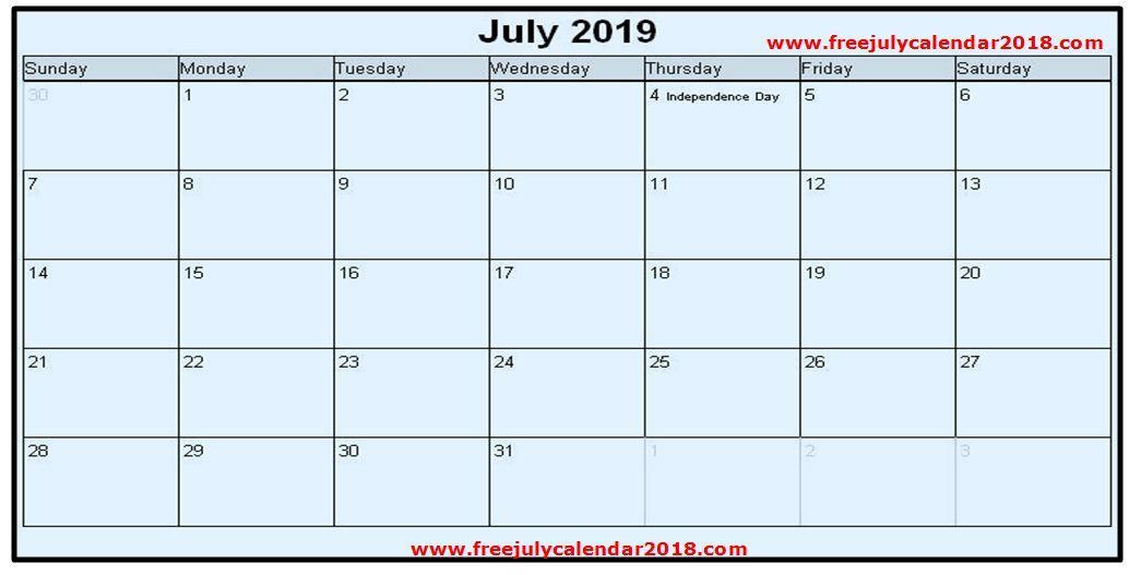July 2019 Calendar Blank July 2019 Calendar Printable Pinterest