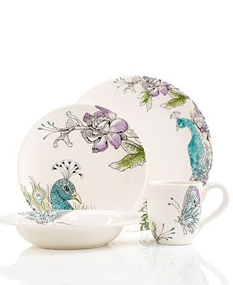 Edie Rose by Rachel Bilson Dinnerware, Peacock 4 Piece Place Setting - Casual Dining - Kitchen - Macy's