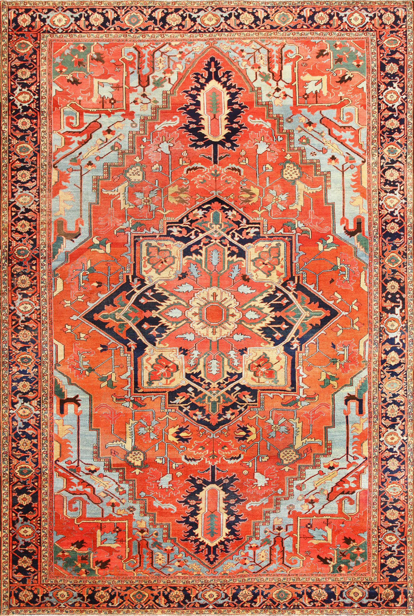 Large Geometric Antique Persian Heriz Rug 48850 In 2019