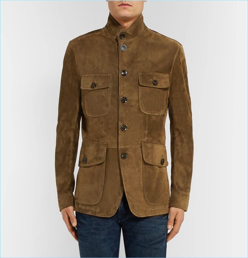 Casual Suede Leather Classic Brown Blazer Slim Fit Coat Stylish Jacket For Men