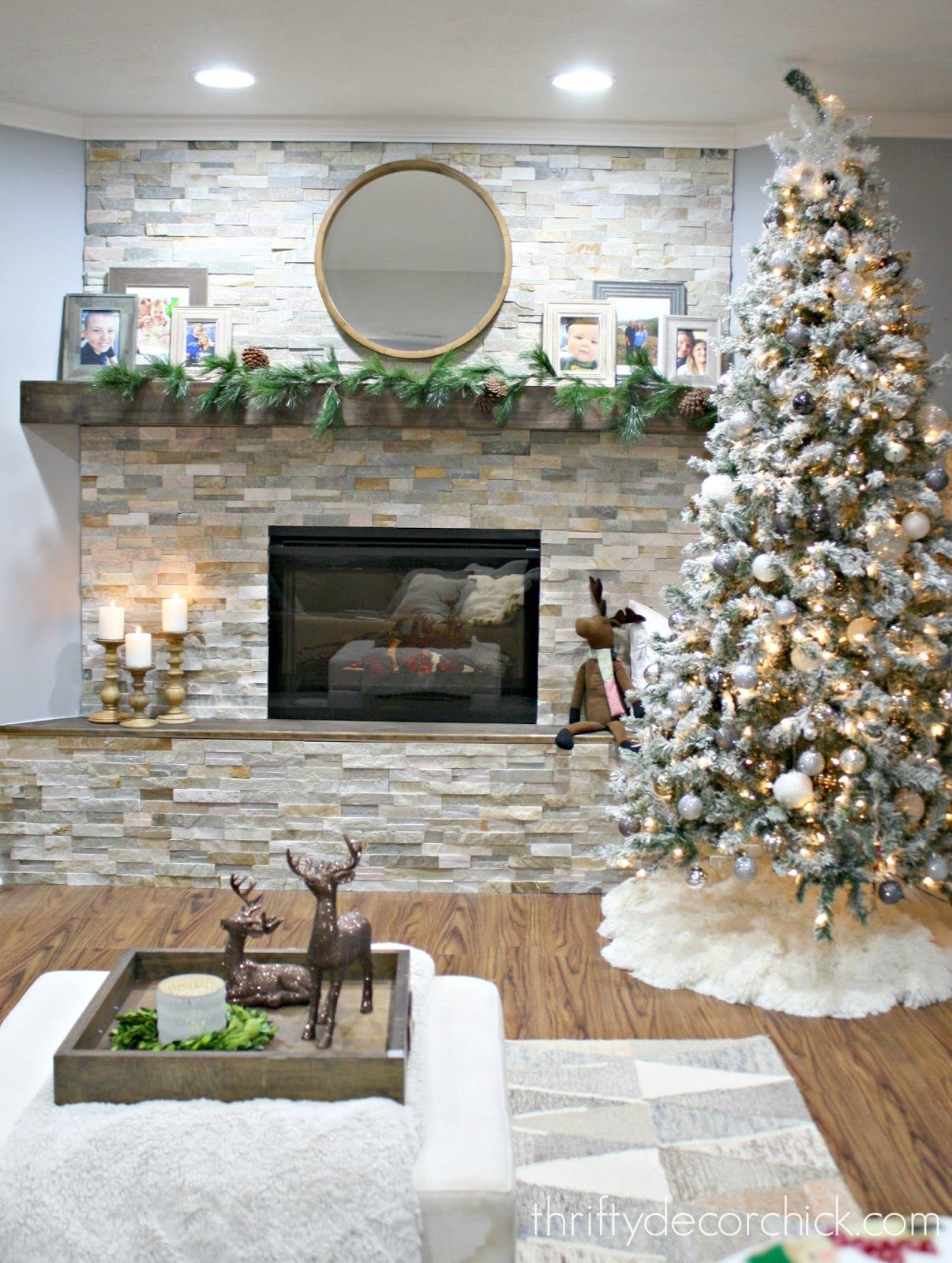 DIY stacked stone fireplace (where there was none