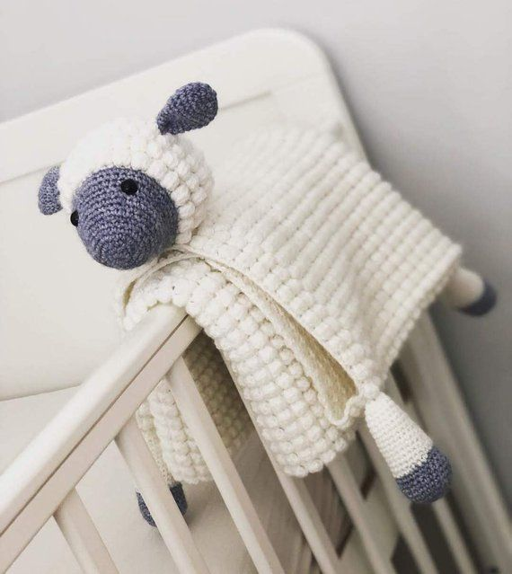 3 in 1 Cuddly Sheep Baby Toy Security Blanket Lovey Crochet Pattern - Lamb Folding Blanket - Baby Shower Gift #securityblankets