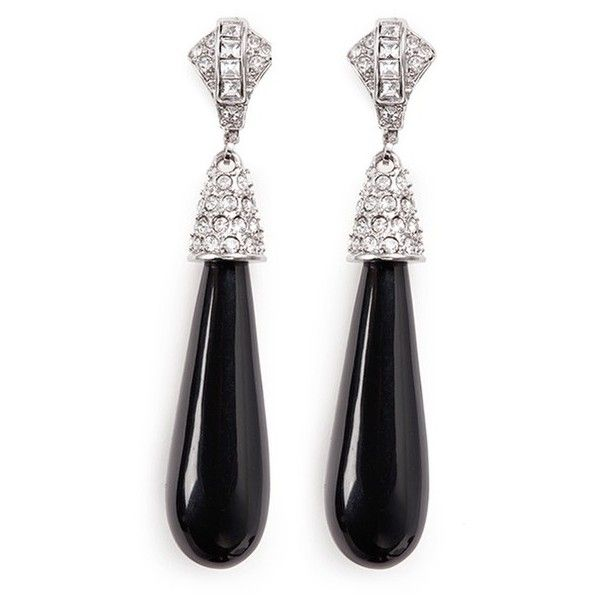 Kenneth Jay Lane Black Teardrop Clip Earring Black HnQ1jlyJXw