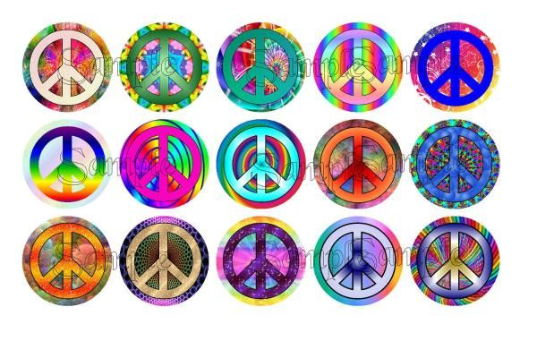 Peace Symbols 2 Themed  Bottle Cap Images Digital Collage - 4x6 Sheet - 1 inch circle