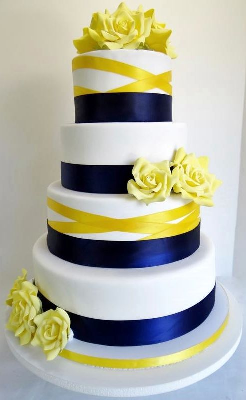 Navy blue, white, and yellow wedding cake. | Wedding Cakes in 2018 ...