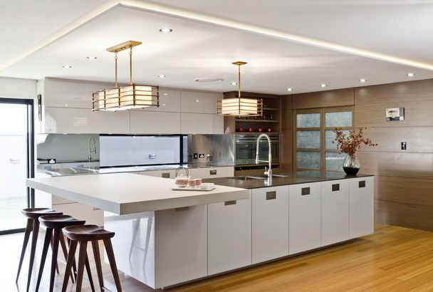 Japanese Contemporary White Kitchen Design With Traditional Japanese