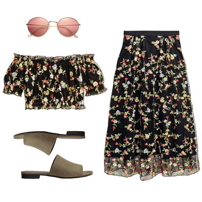 - This feminineembroideredtop-and-skirt set is begging to be worn on a sunny daytime outing. Stay comfortable with low-heeled suede slides, and add retro vibes with small roundsunnies.