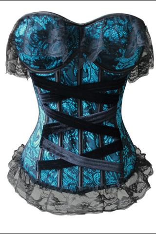 4dca8985e1 Atomic Deep Blue Sea Black Lace Corset