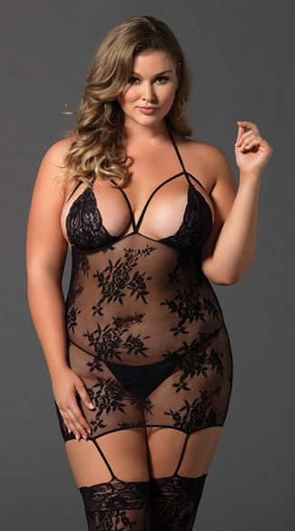 5827df0924 Plus Size Mesh and Lace Cage Suspender Bodystocking in 2019
