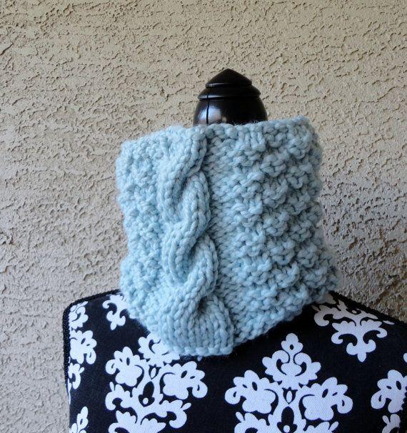 Scarf Cowl Womens Chunky Robin Egg Blue Neckwarmer by KnitsDuNord, $28.00