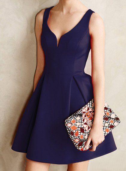 Retro Style Women's V-Neck Candy Color Sleeveless Dress
