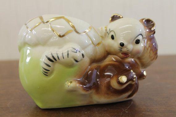 Gold Squirrel Worm & Acorn Planter  $19.99 by LittleRedHenONLINE on Etsy