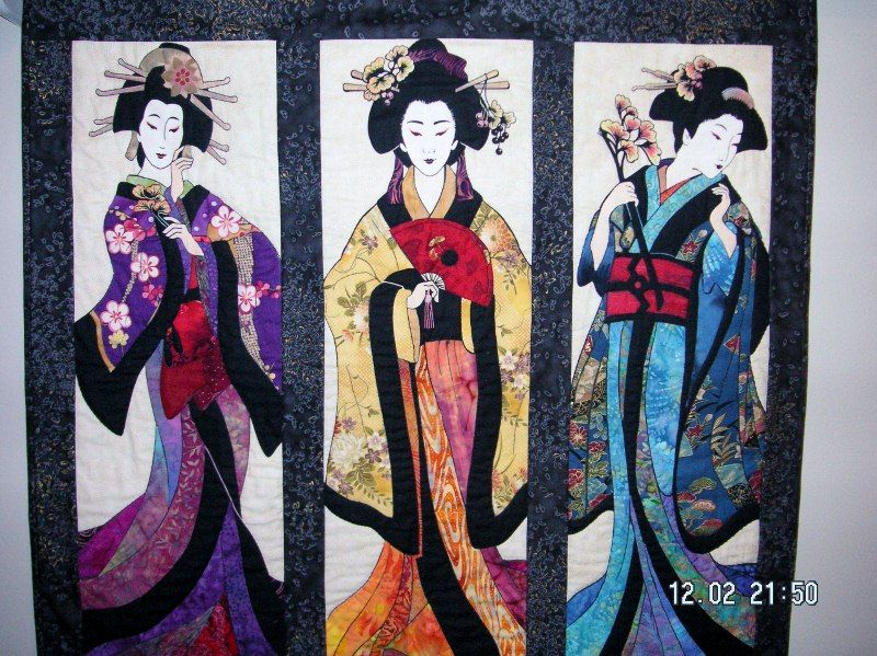 Three Geisha panel. These gals just had to have clothing. Needle ...