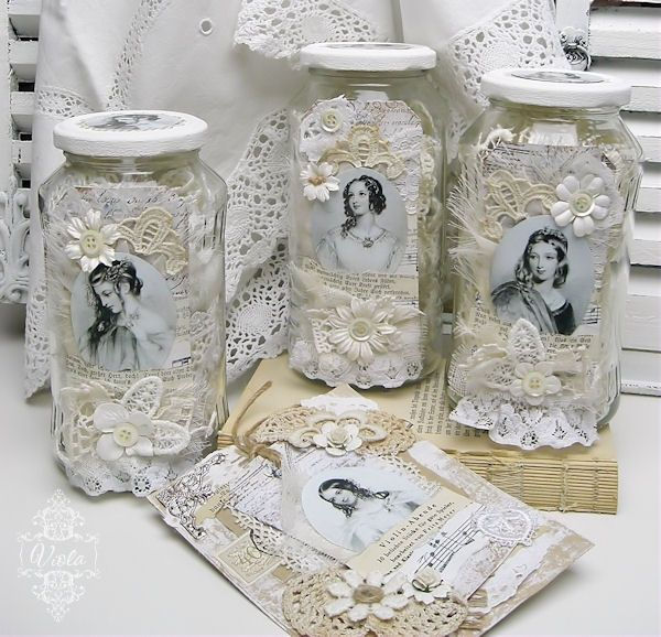 altered jars for lace storage shabby6