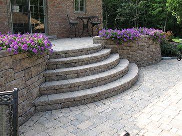 Creative Outdoor Stairs Options Using Allan Block Retaining Walls