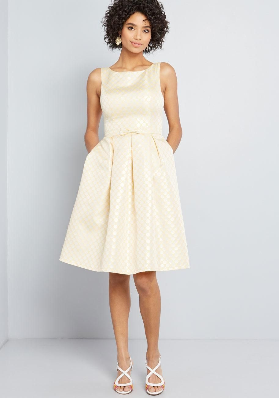 66d99726156 Polish Aplenty Fit and Flare Dress Spreading your style over a series of  fancy occasions is simple with this jacquard A-line dress - a ModCloth  exclusive!