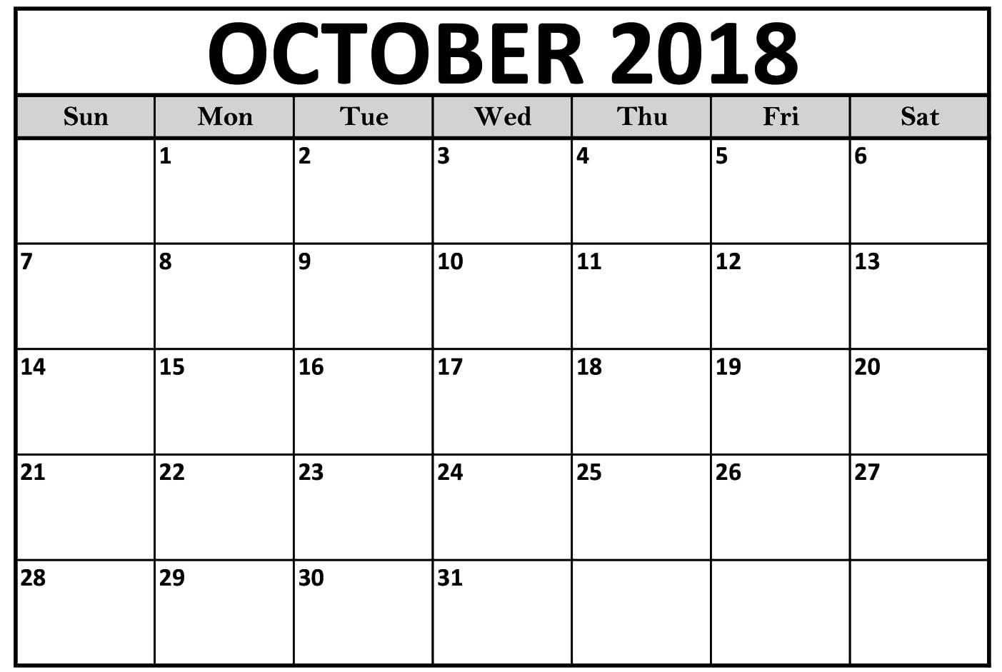 calendar october 2018 by week