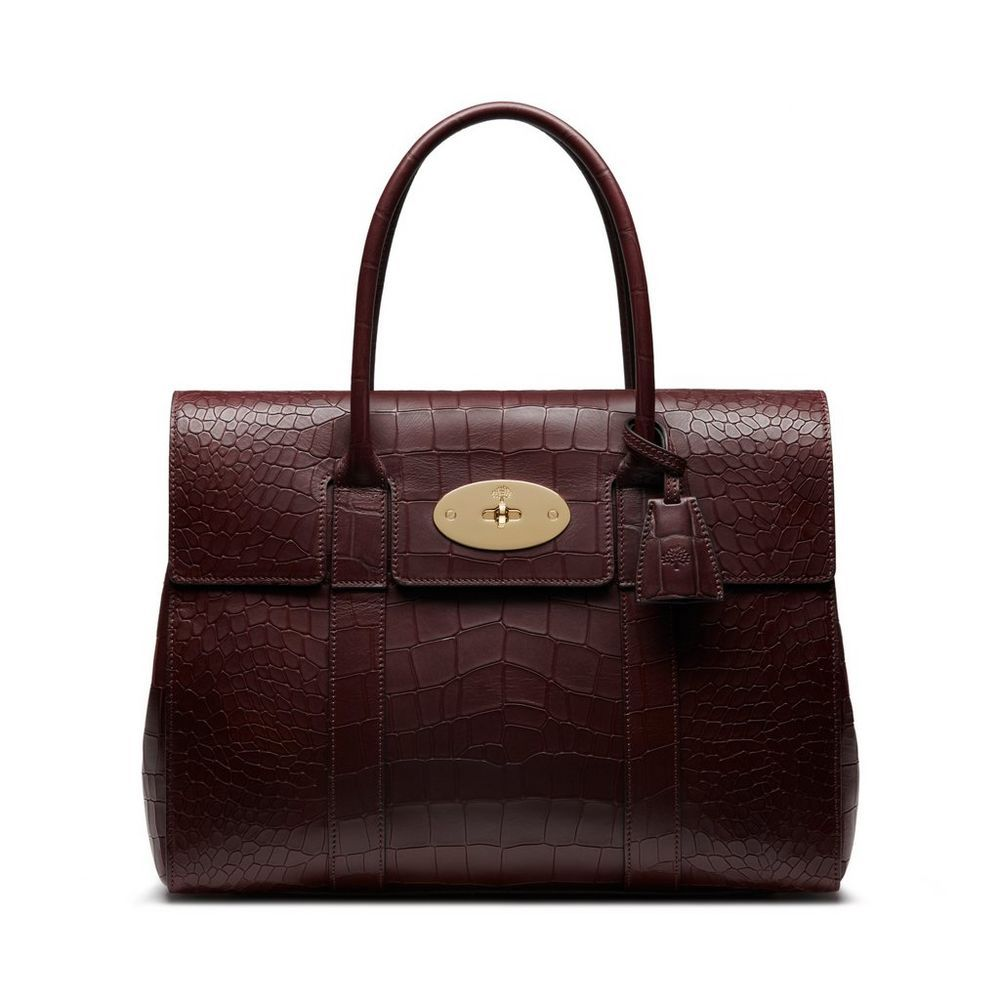 69200240485 New Edition!2016 Mulberry Handbags Collection Outlet UK-Mulberry Bayswater  Oxblood Deep Embossed Croc Print