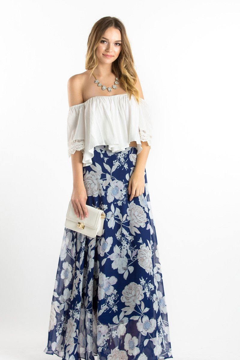 Navy Floral Maxi Skirt, Maxi Skirts to Spring, What to wear as a ...