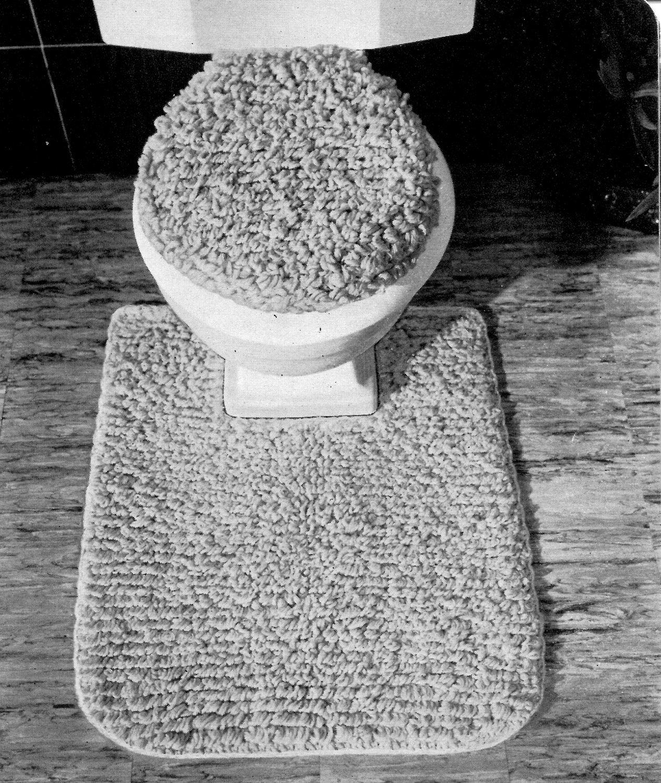 Mid Century Retro Toilet Set Seat Cover Rug Pdf Crochet Pattern
