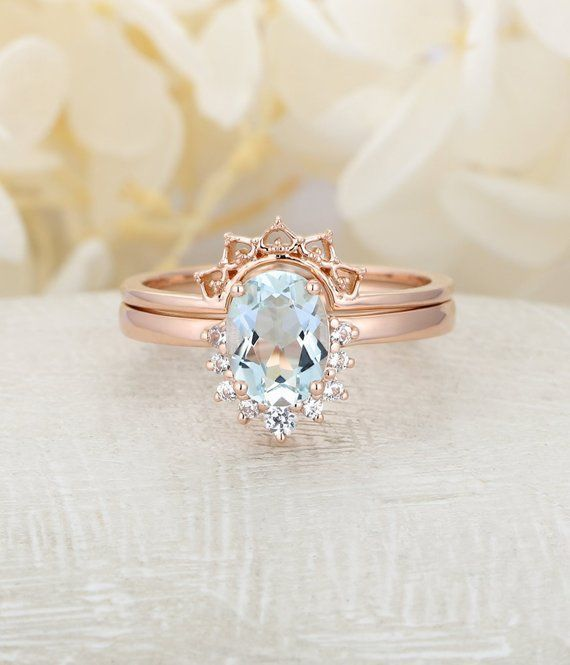 Aquamarine engagement ring rose gold Vintage engagement ring Oval diamond wedding women Unique Design Three stone Bridal Anniversary Gift #aquamarineengagementring Aquamarine engagement ring rose gold Vintage engagement ring Oval diamond wedding women Unique Design Three stone Bridal Anniversary Gift #aquamarineengagementring