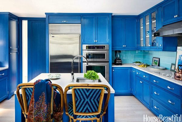 A Very Blue Kitchen In New York