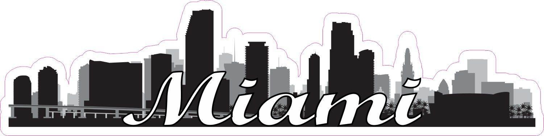 10in x 2.5in Script Miami Skyline Sticker Miami skyline